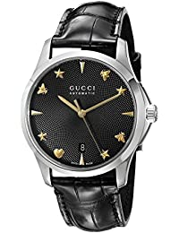 Swiss Automatic Stainless Steel and Leather Dress Black Men's Watch(Model: YA126469)