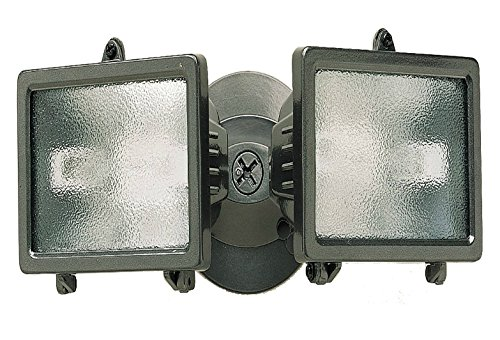 Heath/Zenith SL-5502-BZ 150-Watt Compact Twin Halogen Floodlight, Bulb and Back plate Included, Bronze