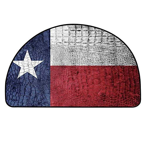YOLIYANA Western Decor Half Circle Rug,Texas State Flag Painted on Luxury Crocodile Snake Skin Texture Looking Patriotic Emblem Decorative Door Mat,23.6