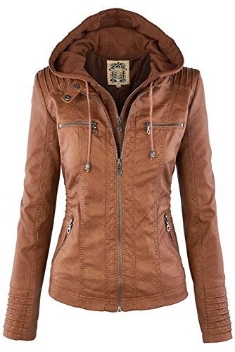 12 Zip Hooded Jacket Biker 24 Overcoat Vintage Winter Women Slim Plus Size PU Bomber Motorcyle MAGIMODAC Leather Jackets Brown 8 20 16 Detachable 14 Up 26 10 Outerwear 18 22 v10x8n