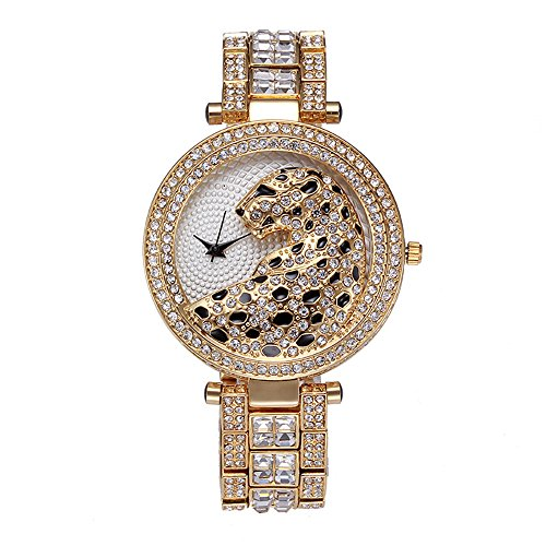 Sheli Women Unique Design Gold Plated Crystal Accented Leopard Yellow Dial Bangle Wrist Watch (Heart Rate Monitor Watch Petite)