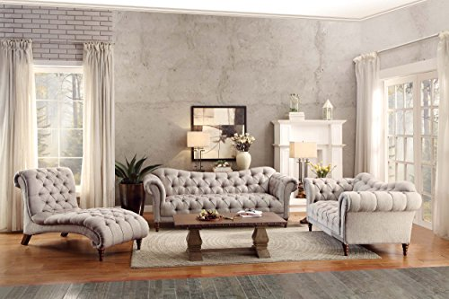 Homelegance St Claire Traditional Style Sofa With Tufting And Rolled Arm Design Brown