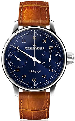 MeisterSinger Paleograph Mens Single-Hand Manual Wind Mechanical Chronograph Watch - 43mm Analog Blue Face Unique Watch with Sapphire Crystal - Brown Leather Band Swiss Made Luxury Watch for Men SC108