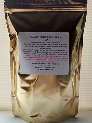 PREMIUM PASSION FLOWER LEAF POWDER- 16oz ~ 1lb (pound) ~ Fresh and Potent ~ Packaged in Resealable stand up pouches ~ White Label Premium Herbs and Spices ~