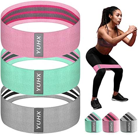 [Latest 2021] Resistance Bands for Legs and Butt, Fabric Workout Booty Glute Thigh, Women/Men Stretch Exercise Loops, Thick Wide Non-Slip Gym Bootie Fitness Band 3 Set for Squat Glute Hip Training
