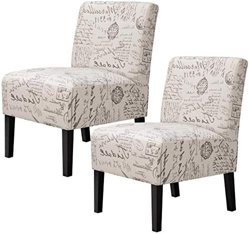YAHEETECH Modern Design Fabric Armless Accent Chair Upholstered Chairs