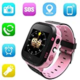 Cheap Jsbaby Kids Smart GPS Watch 1.44 inch Touch Smartwatch GPS Kid Tracker for Children Girls Boys Birthday Gift with Camera SIM Calls Anti-Lost SOS GPS Smartwatch Compatible Phone Android (Pink)