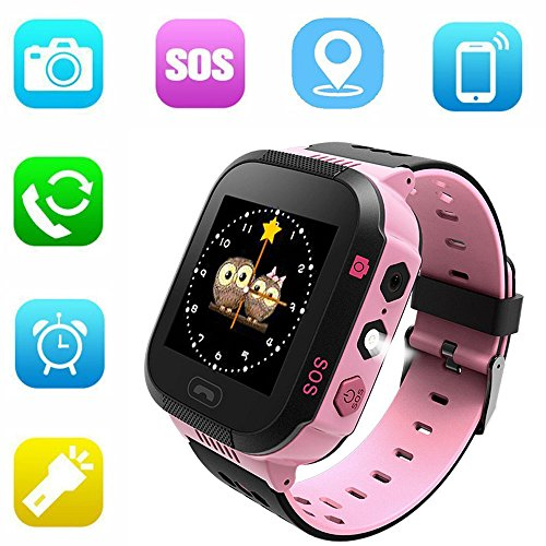 Jsbaby Kids Smart GPS Watch 1.44 inch Touch Smartwatch GPS Kid Tracker for Children Girls Boys Birthday Gift with Camera SIM Calls Anti-Lost SOS GPS Smartwatch Compatible Phone Android (Pink)