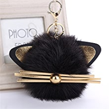 Grey Gaddrt 16cm Cute Dog Keychain Keyrings Bags Charm Pendant Bag Car Women Key Ring Holder Pompoms Key Chain