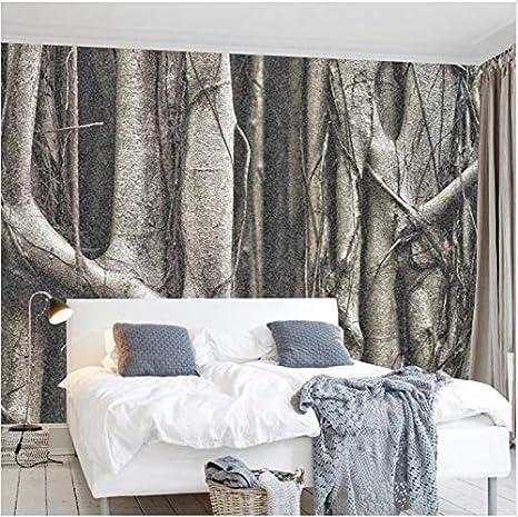 Zhimu Fototapeten Fototapete Wald Bäume Baum Wurzeln Schwarz