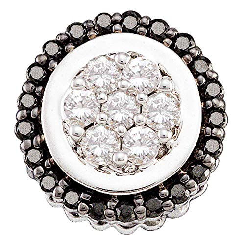 Jawa Jewelers 14kt White Gold Womens Round Black Color Enhanced Diamond Framed Flower Cluster Pendant 1/3 Cttw ()