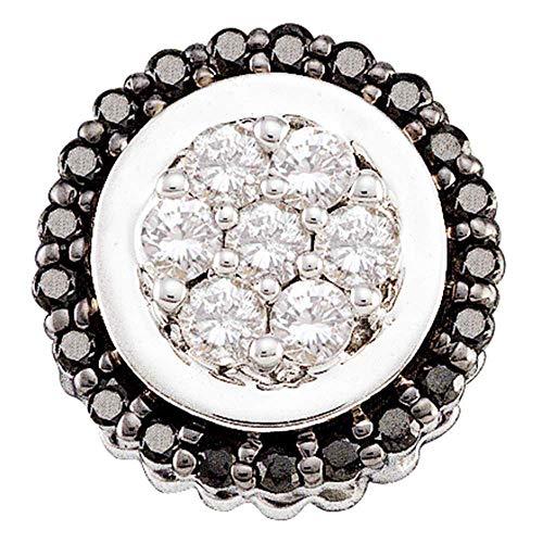 Jawa Jewelers 14kt White Gold Womens Round Black Color Enhanced Diamond Framed Flower Cluster Pendant 1/3 Cttw