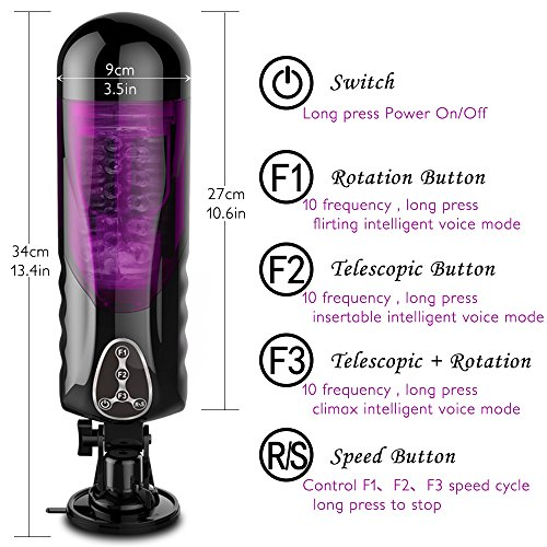 Telescopic Rotating Male Masturbator Cup Voice Sex Machine Hands-Free Electric Masturbation Cup Pocket Pussy Sex Toys for Men