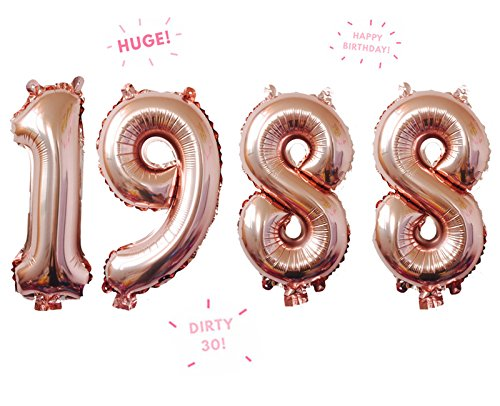 1988 Rose Gold 32 Inch Huge Giant Number Balloons Foil Mylar Number Balloons For Anniversary,30th Birthday Party Decorations