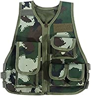 Kids Tactical Vest, Adjustable Children Camouflage Multi-Pouches Jacket for Outdoor Hunting Games