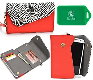 Wallet smart phone holder BONUS cross body chain strap included- Red/ Black and white- Universal fit for Gionee CTRL V4