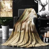 Unique Custom Double Sides Print Flannel Blankets Perspective Wood And Blurred Cafe With Bokeh Light Background Product Display Temp Super Soft Blanketry for Bed Couch, Throw Blanket 50 x 60 Inches