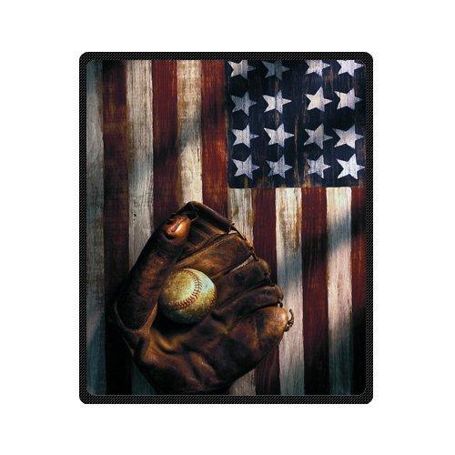 Baseball Throw Blanket - Honey Day House American Flag Baseball Soft High Quality Blanket 50