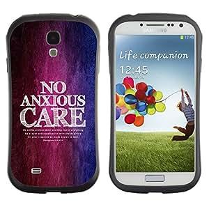 LASTONE PHONE CASE / Suave Silicona Caso Carcasa de Caucho Funda para Samsung Galaxy S4 I9500 / BIBLE Philippians 4:6 No Anxious Care