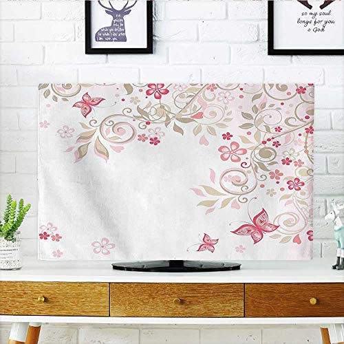 Auraisehome Dust Resistant Television Protector Branches Wildflowers Butterflies Dots Romantic Bridal Wedding Theme Pink Cocoa Light Pink tv dust Cover W30 x H50 INCH/TV 52