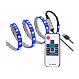 #5: WenTop USB Led Strip Lights 5V 5050 RGB Waterproof Black Strip Light 6.56ft(2M) 60leds Flexible Tape Light with RF Remote Controller for TV Back Lighting, Computer, Desk, Trucks, Cabinet and More