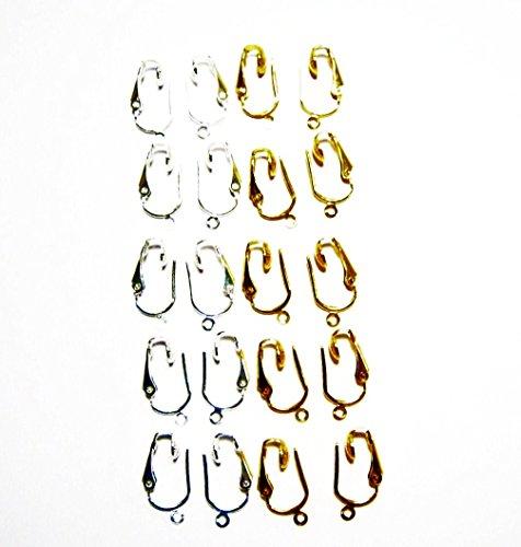 (10pr Gold/Silver Clip On Earring Converter Kit- Change Drop Style Pierced Earrings to Clip On)
