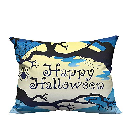 YouXianHome Sofa Waist Cushion Cover Happy Halloween Quote Spooky Night Moon and Branches Shadows Haunted Lights YEL Decorative for Kids Adults(Double-Sided Printing) 19.5x30 inch ()