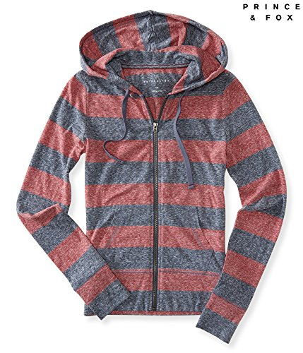 Aeropostale Women's Prince & Fox Rugby Stripe Lightweight Full Zip Hoodie S Real