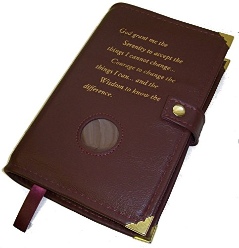 Burgundy Leather AA Alcoholics Anonymous Big Book Cover Serenity Prayer and Medallion - Anonymous Leather Alcoholics