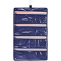 InterDesign Roll-Up Jewelry Case Travel Bag, Navy/Orange