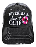 Embroidered ''River Hair Don't Care'' Grey Trucker Cap Fashion (Hot Pink)