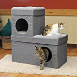 Kitty City Large Stackable Cat Condo, Cat Cube, Cat House, Pop Up Bed, Cat Ottoman