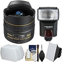 Nikon 10.5mm f/2.8G ED DX AF Fisheye-Nikkor Lens with Flash + Soft Box & Bounce Diffusers + Kit for D3100, D3200, D3300, D5100, D5200, D5300, D7000, D7100 DSLR Cameras