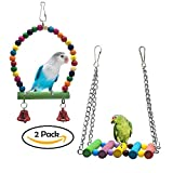 SHANTU PINCHUANG 2 Packs Bird Hanging Toy Pet Parrot Hammock Swing for Small Medium Birds