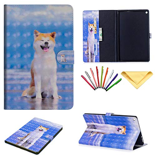 Folio Stand Case for Amazon Fire HD 10 Tablet (7th/5th Generation, 2017 and 2015), Uliking PU Leather Wallet with Cards Holder Pocket TPU Back Cover for Kindle Fire HD 10.1 Inch, Cute Shiba Inu Dog