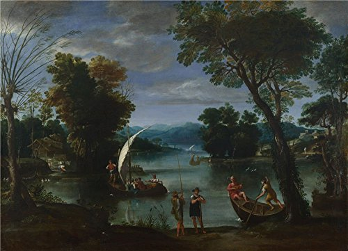 Oil Painting 'Giovanni Battista Viola Landscape With A River And Boats ' Printing On Polyster Canvas , 12 X 17 Inch / 30 X 42 Cm ,the Best Kids Room Artwork And Home Decor And Gifts Is This High Resolution Art Decorative Canvas Prints