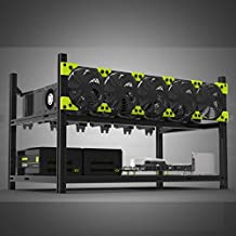 6 GPU Miner Mining rig Aluminum Stackable Open Air Mining Case Computer ETH Frame Rig for Bitcon Miner Kit Unassembled Ethereum