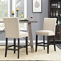 "Belleze 24"" inch Dining Chairs Fabric Kitchen Parsons Urban Style Counter Height Chair with Solid Wood Legs Set of (2) Beige"