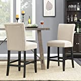 Belleze 24″ inch Dining Chairs Fabric Kitchen Parsons Urban Style Counter Height Chair with Solid Wood Legs Set of (2) Beige For Sale