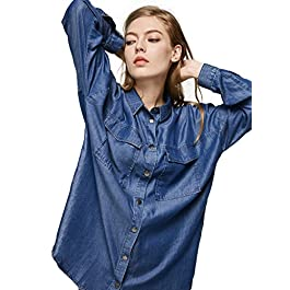 Escalier Women's Denim Shirt Chambray Tencel Long Sleeve Button Down Shirts Oversize Blouse