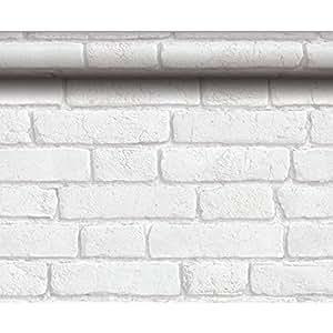 Koziel - Papel pintado, diseño de ladrillos antiguos, color blanco