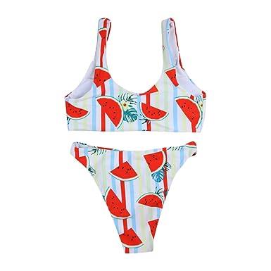 a209a8def7c DEELIN 2019 Moda Sexy Mujeres Vendaje Bikini Conjunto Push-Up BrasileñO  Chaleco Sandía ImpresióN Traje De BañO Beachwear Traje  Amazon.es  Ropa y  accesorios