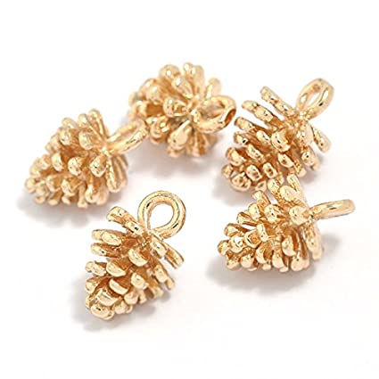 f41d3f2464c Image Unavailable. Image not available for. Color  12PCS Gold Plated Brass  Small Pine Cones Charms Pendant ...