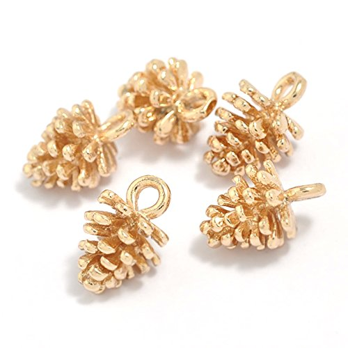 12PCS Gold Plated Brass Small Pine Cones Charms Pendant Accessories Bulk Lots for Jewelry Making ()