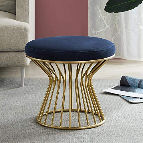 Luxurious Velvet Covered Ottoman Footrest – Modern Round Stool Seat w Sturdy Gold Metal Base – No Assembly Required Accent Furniture Perfect for Use in Any Room – Navy Blue Velvet Color