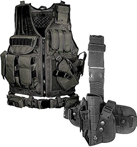 Bundle Includes 2 Items - UTG 547 Law Enforcement Tactical Vest, Black and UTG Special Operations Universal Tactical Black Leg Holster - Gen II - Operations Universal Tactical Leg Holster