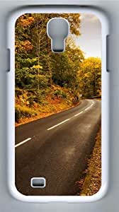Autumn highway PC Case Cover for Samsung Galaxy S4 and Samsung Galaxy I9500 White