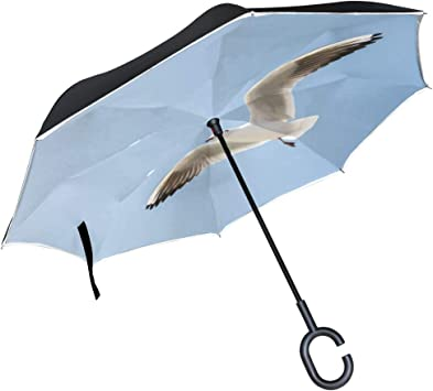 Flying Ducks Windproof Reverse Umbrella for Women with C-Shaped Handle