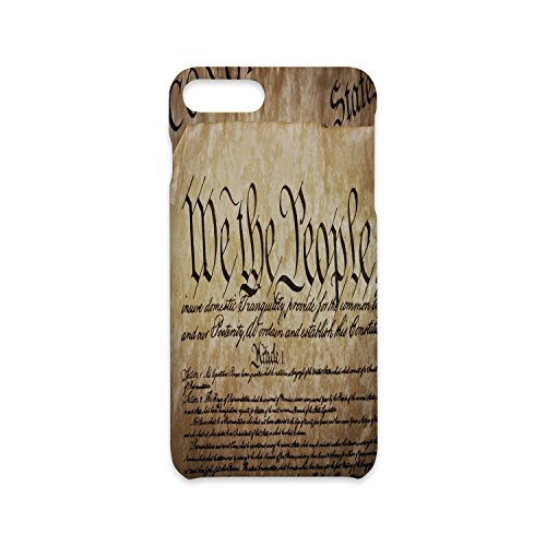 Phone Case Compatible with iPhone7 Plus iPhone8 Plus 3D Print Customized,United States,Vintage Constitution Text of America National Glory Fourth of July Image,Light Brown,Antiskid Proof Shell