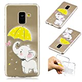Galaxy A8 2018 Creative Case,Galaxy A8 2018 Transparent Soft Clear TPU Cover,Leecase Umbrella Elephant Cute Pattern Flexible Protective Case Cover for Samsung Galaxy A8 2018